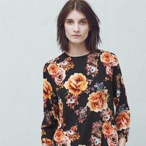 MANGO Floral Print Long Sleeve Blouse